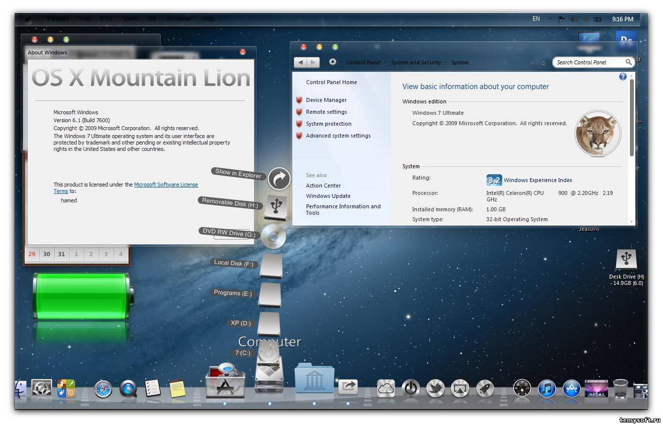 Mountain Lion Skin Pack 2.0 Windows 7 / Тема Mac OS X Lion для Windows 7