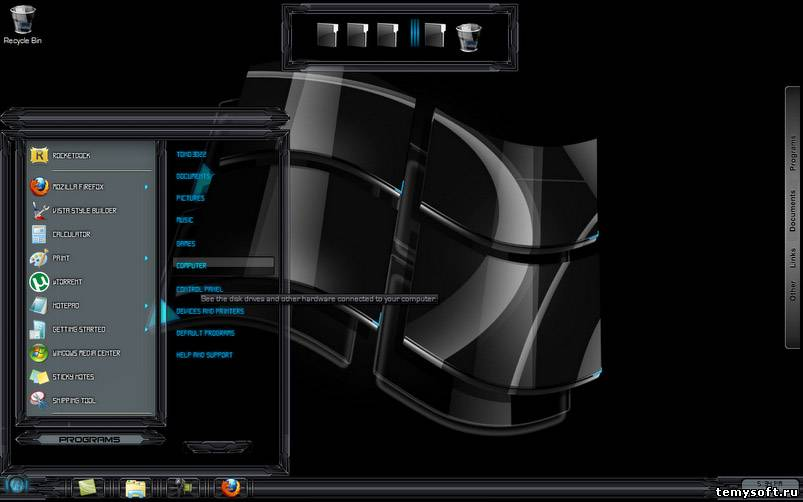 Black glass themes