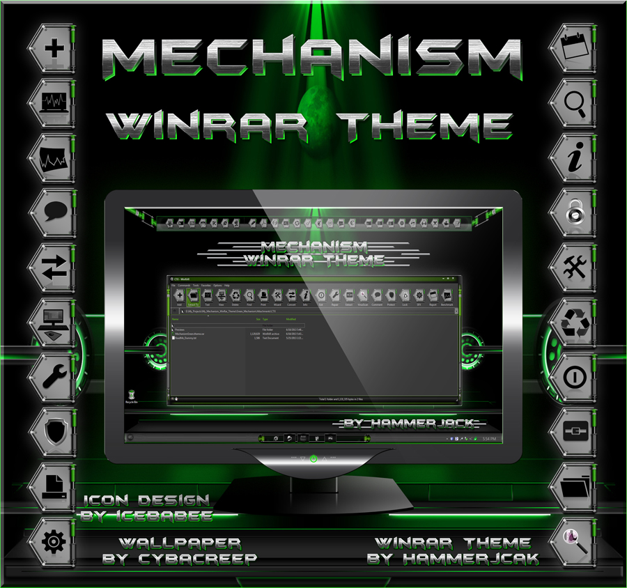 Mechanism Green Winrar Theme by HammerJack & gsw953,Icebabee,Lamia