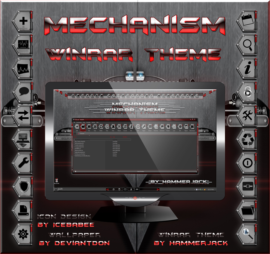 Mechanism Winrar Skin Red by HammerJack & gsw953,Icebabee,Lamia