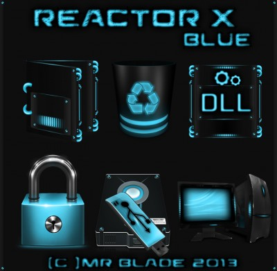 7tsp Reactor-X Blue Icon Pack w10 19h1 19h2 20h1 20h2 2...
